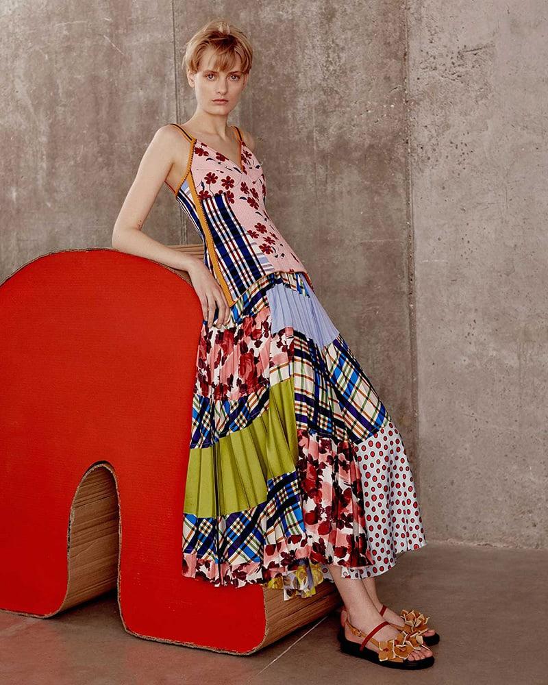 Marni Contrasting-Print Pleated Skirt