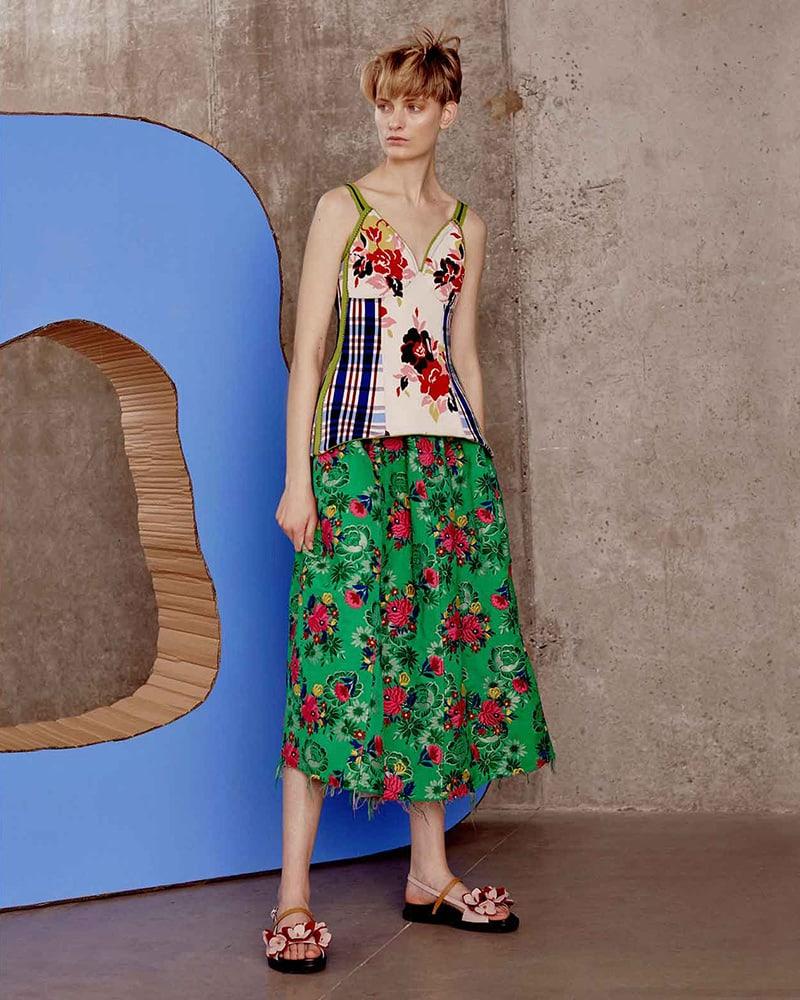 Marni Floral-Brocade Gathered Midi Skirt