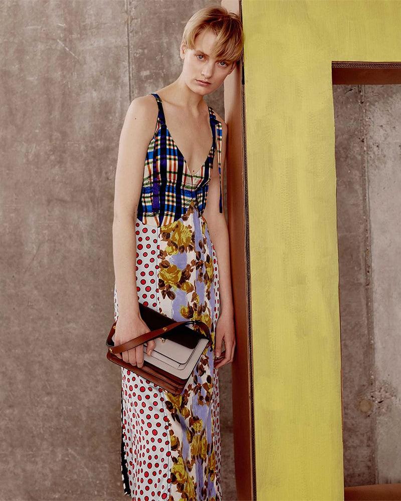 Marni V-Neck Contrasting-Print Midi Dress