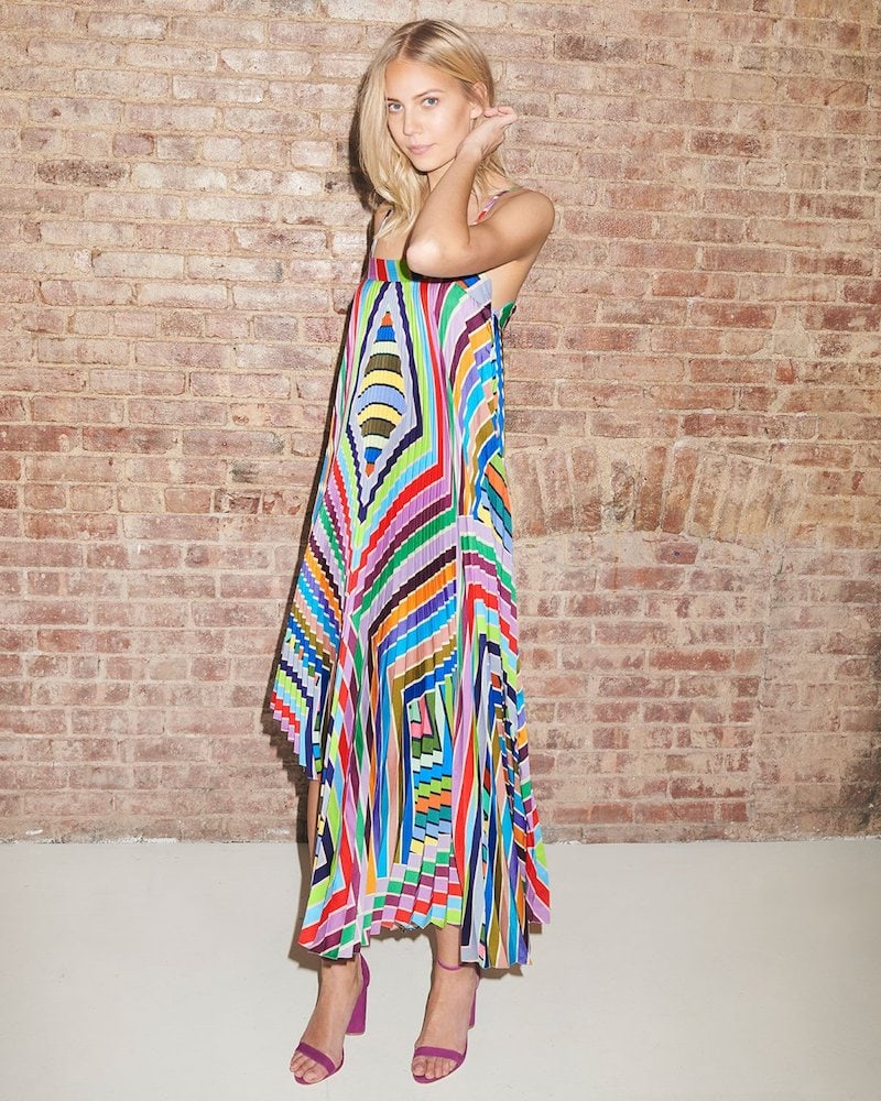 Milly Irene Rainbow Striped Twill Pleated Dress