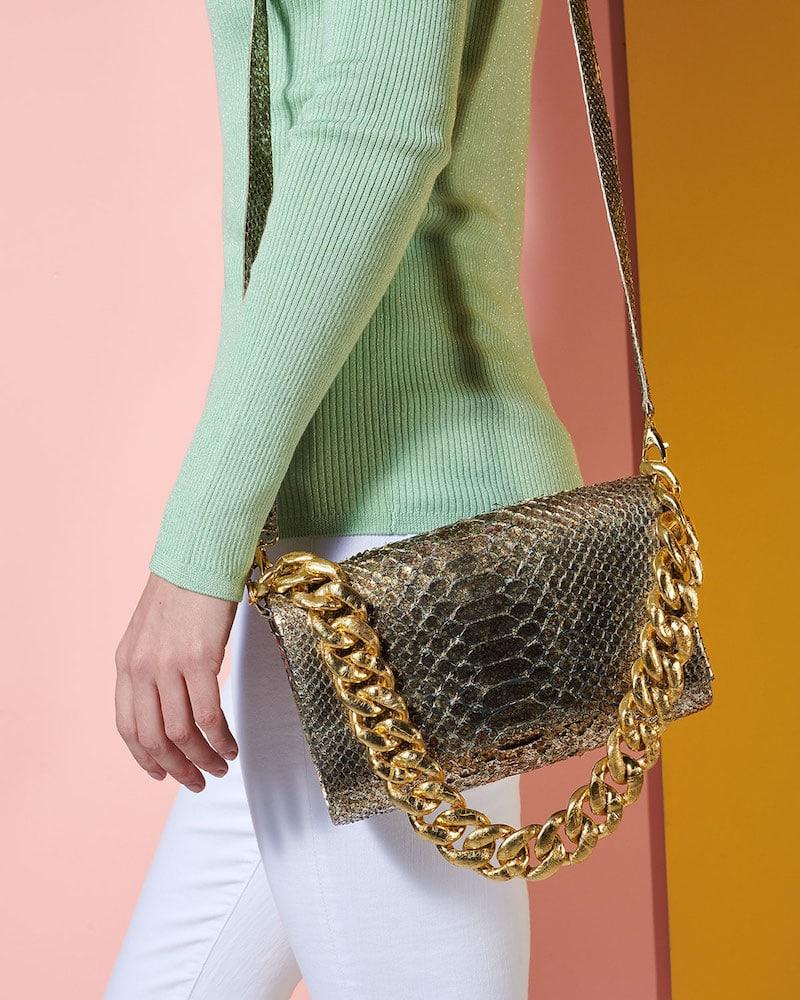 Nancy Gonzalez Carrie Convertible Chain-Trim Metallic Python Flap Bag