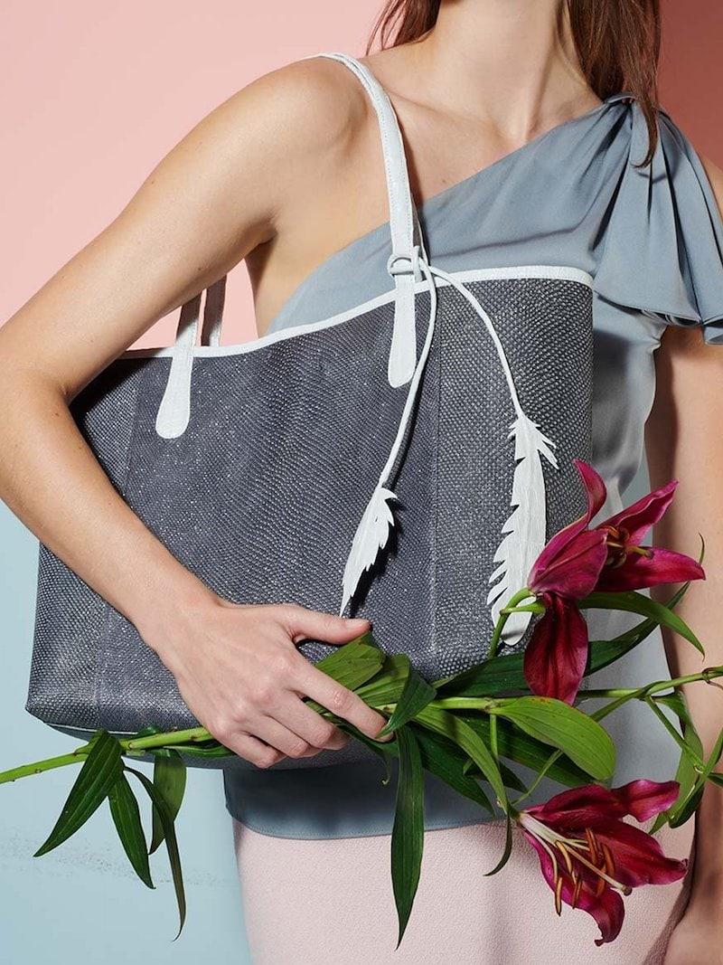 Nancy Gonzalez Erica Karung Snakeskin Leaf Tote Bag