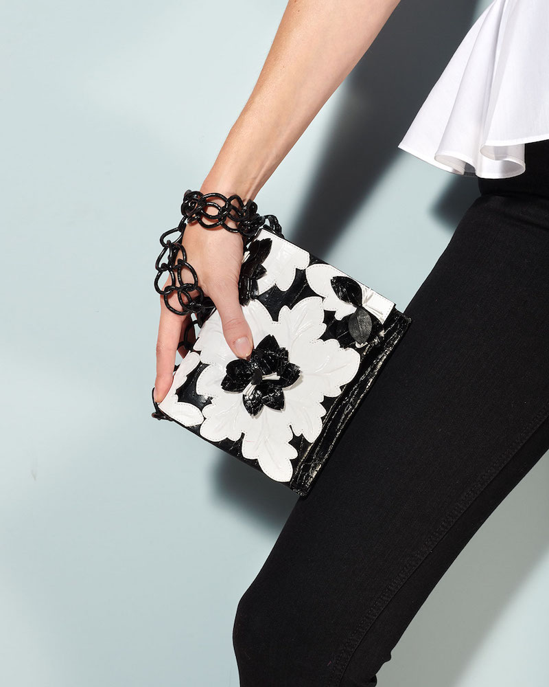 Nancy Gonzalez Laser-Cut Floral Crocodile Shoulder Bag