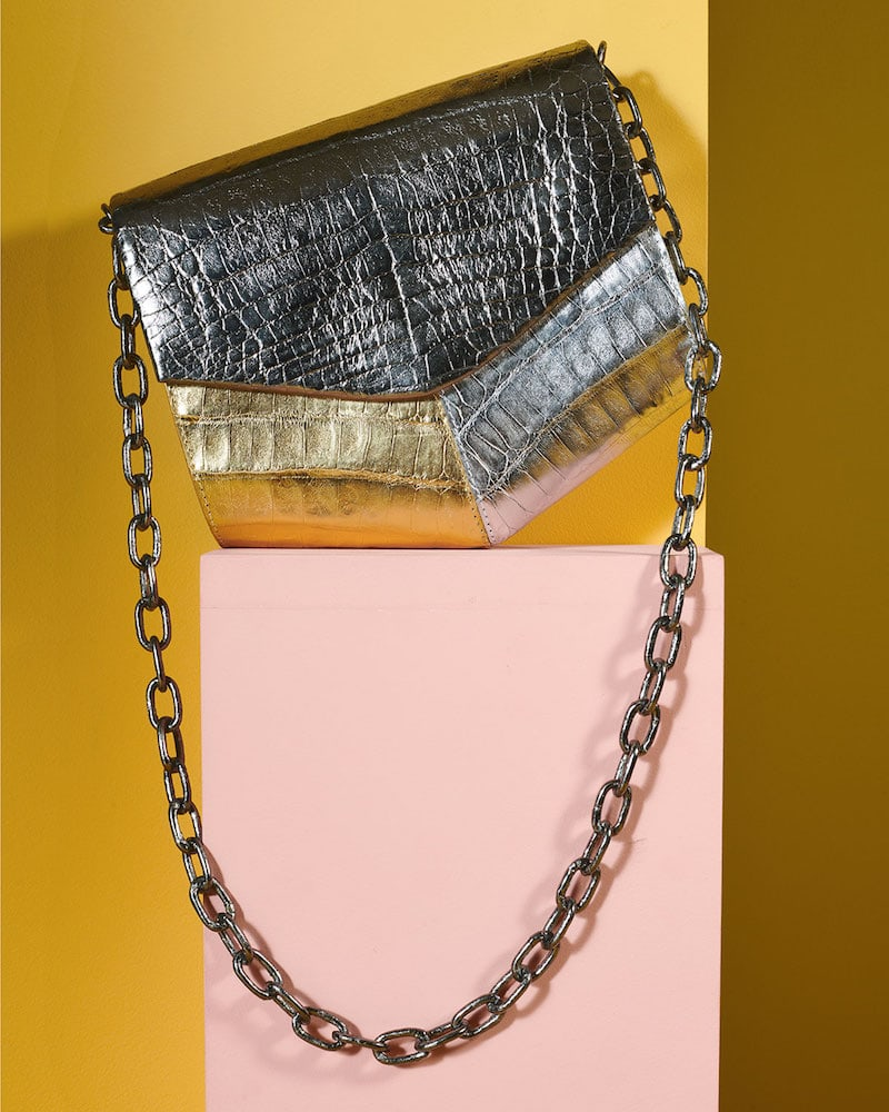 Nancy Gonzalez Metallic Crocodile Triangle Flap Crossbody Bag