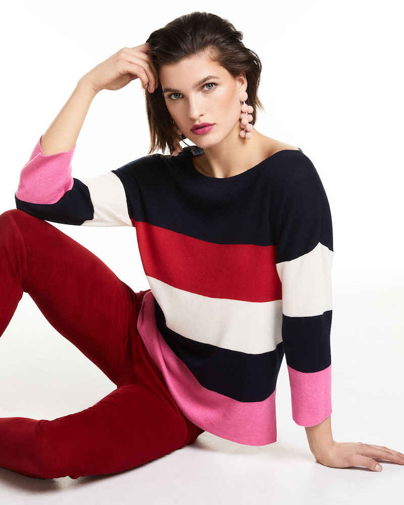 Neiman Marcus Cashmere Collection Cashmere-Blend Striped Boxy Sweater