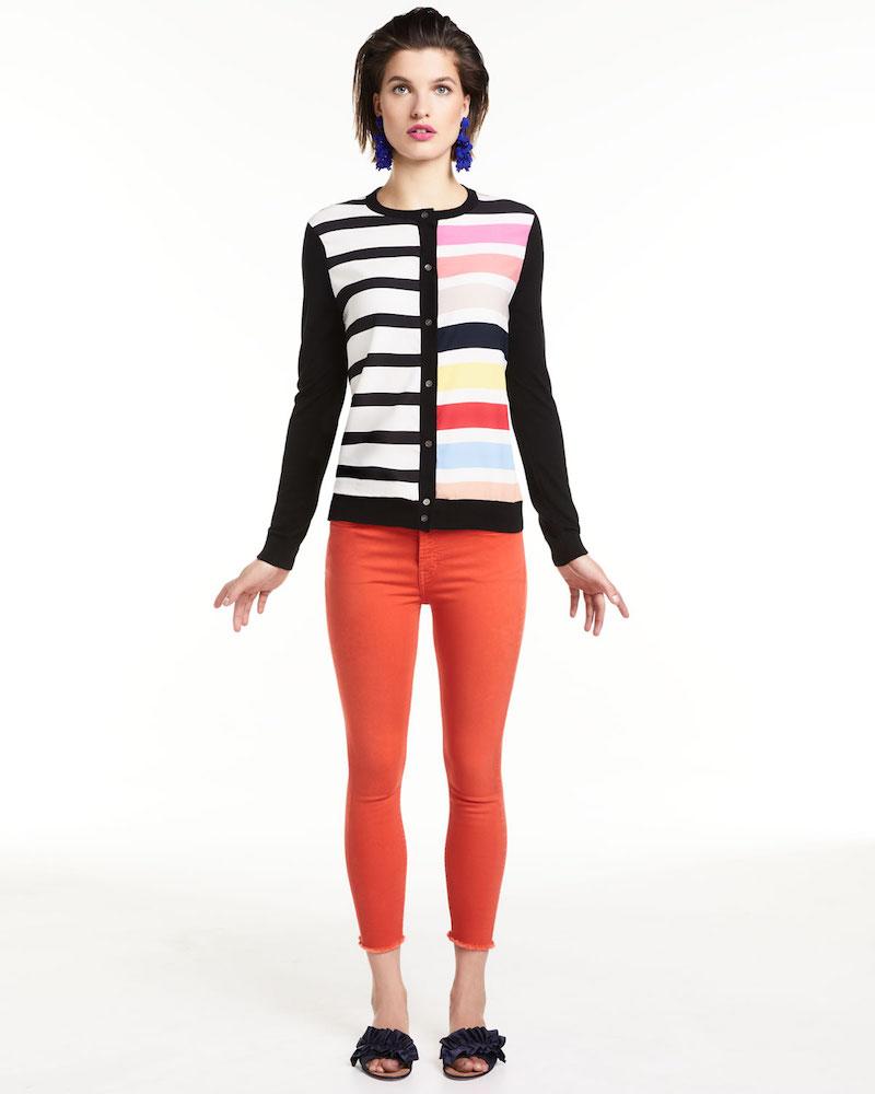Neiman Marcus Cashmere Collection Cashmere Contrast-Stripe Cardigan