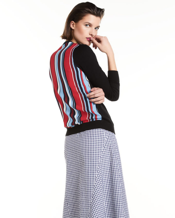 Neiman Marcus Cashmere Collection Cashmere Striped-Back Cardigan 1