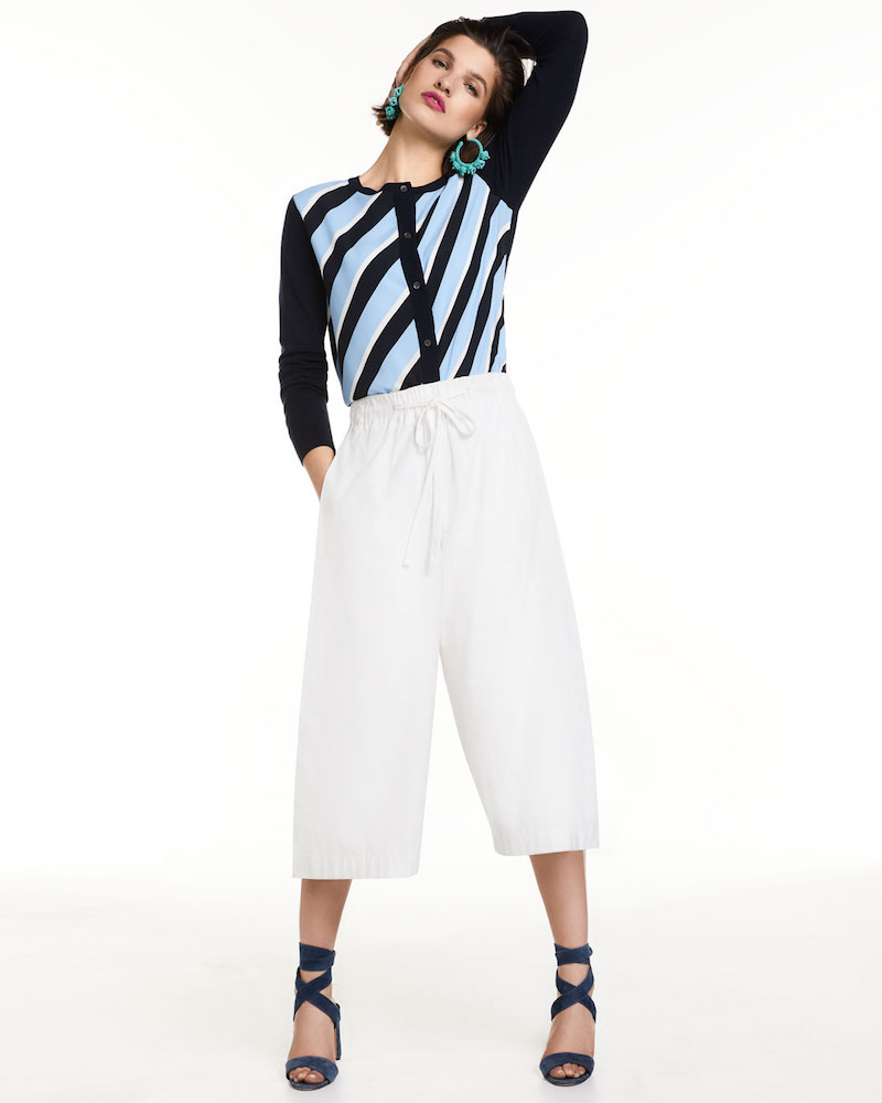 Neiman Marcus Cashmere Collection Cashmere Striped-Front Cardigan