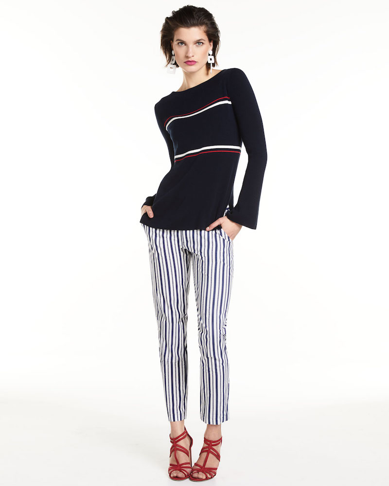 Neiman Marcus Cashmere Collection Crewneck Striped Bell-Sleeve Pullover