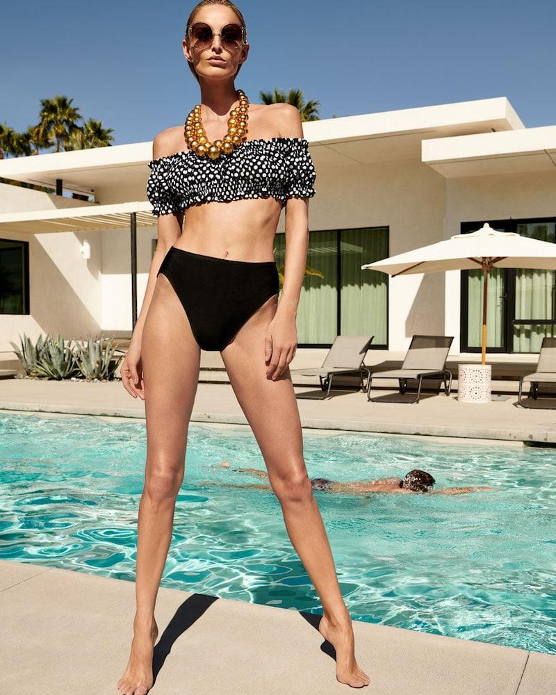 Norma Kamali Jose Off-the-Shoulder Polka-Dot Swim Top