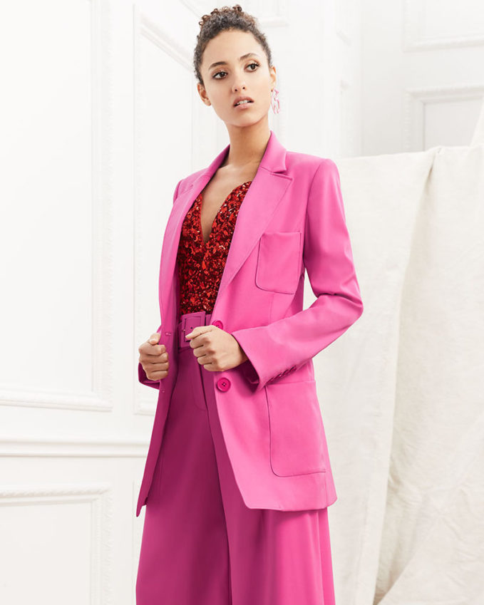 Oscar de la Renta Two-Button Long Wool Blazer