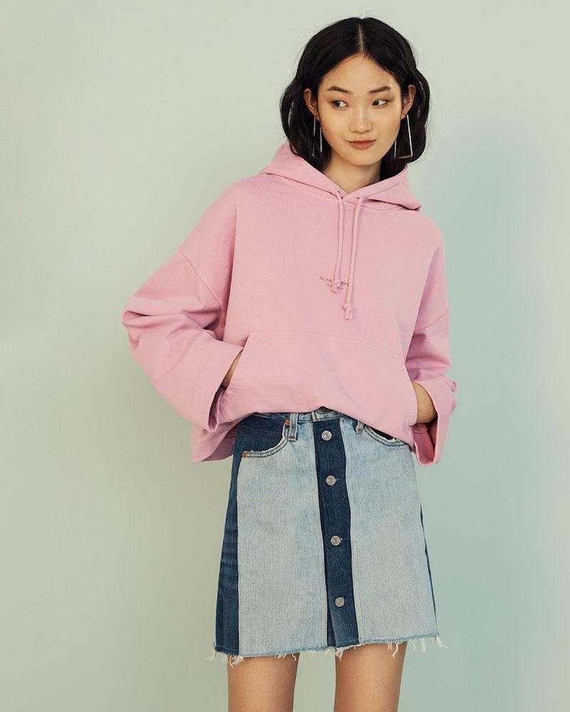 RE/DONE High Waisted Button Front Miniskirt