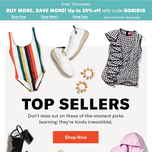 SHOPBOP Top Sellers March 02, 2018