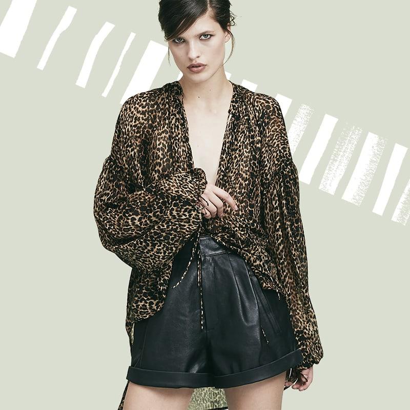 Saint Laurent Leopard Print Peasant Top