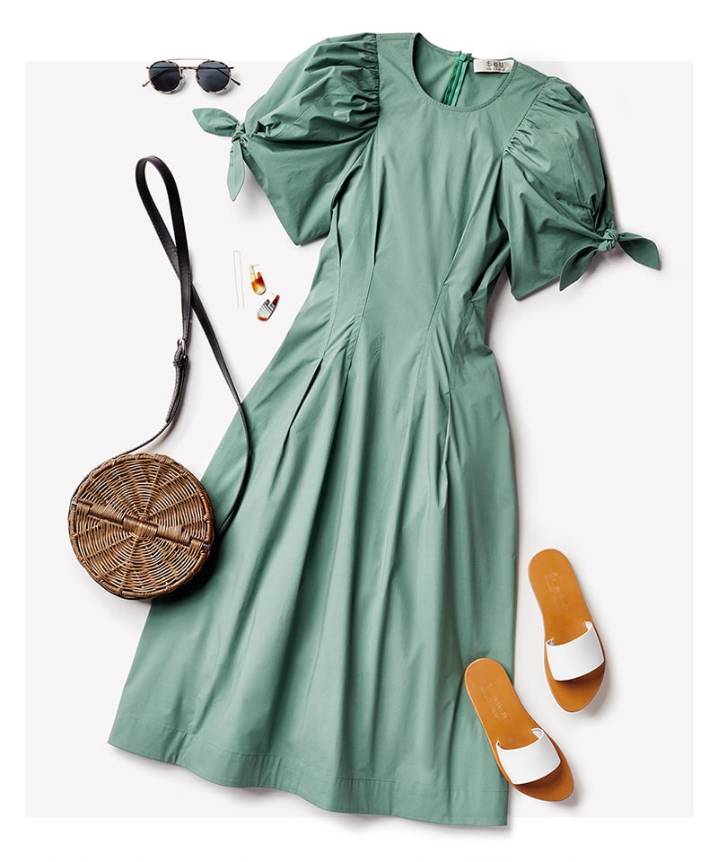 Sea Clover Puff Sleeve Dress