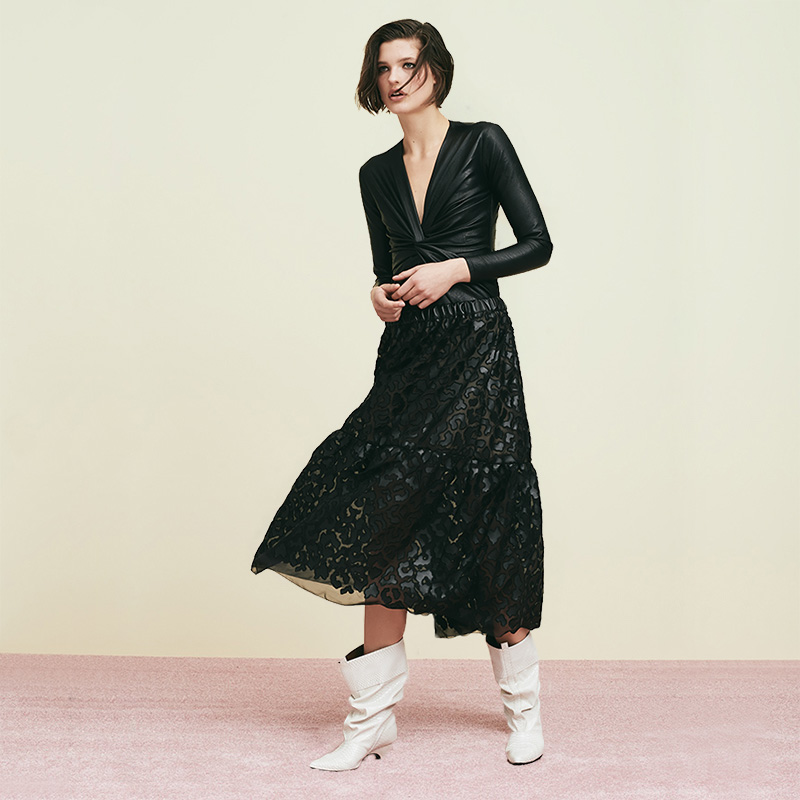 Stella McCartney Faux-Leather Embroidered Midi Skirt