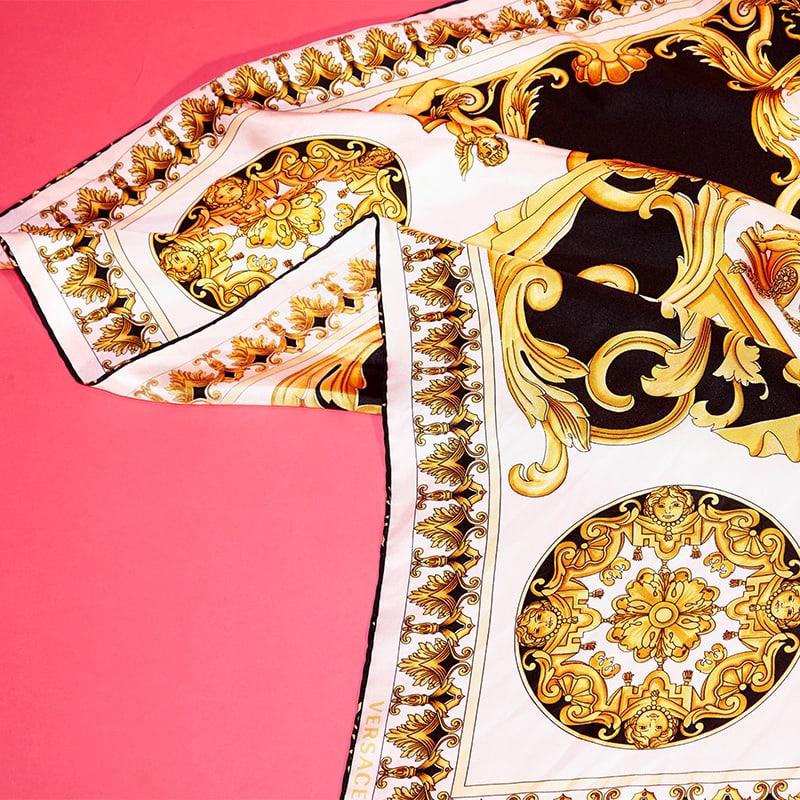Versace Baroque-Print Silk Scarf