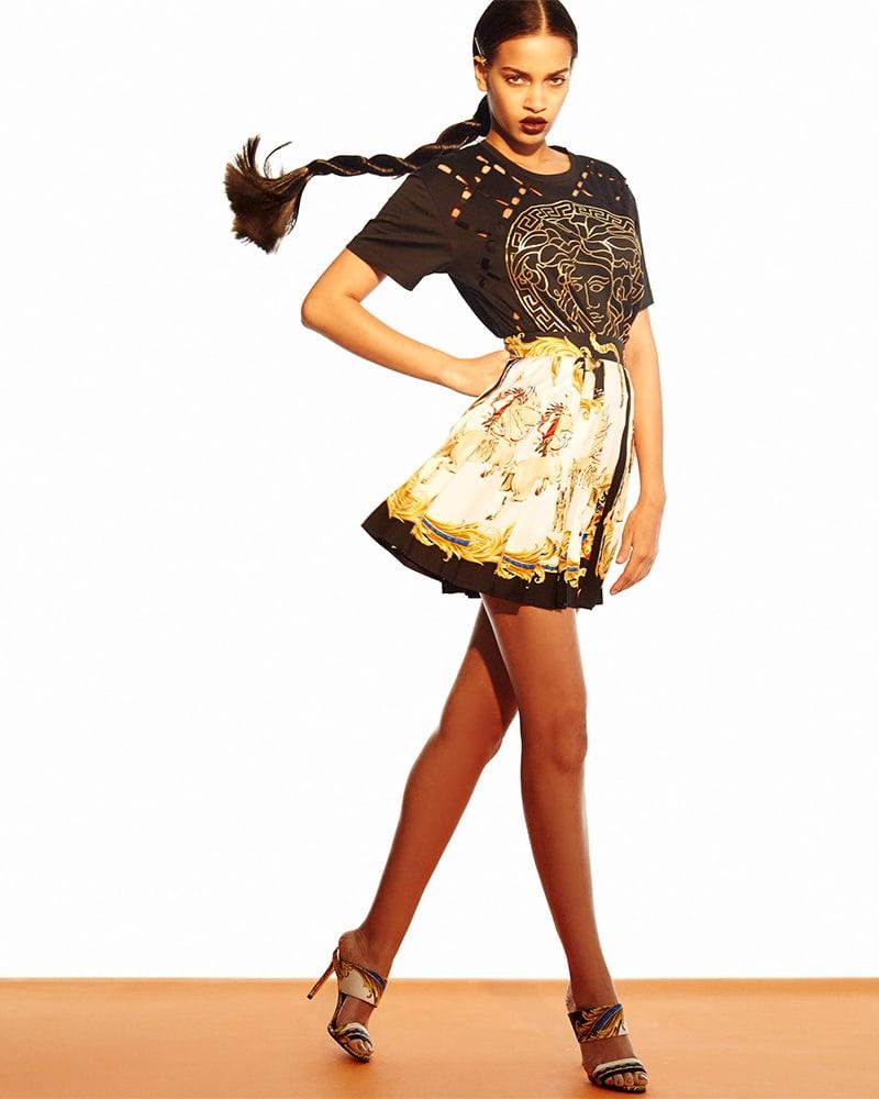 Versace Graphic Pleated Silk Miniskirt
