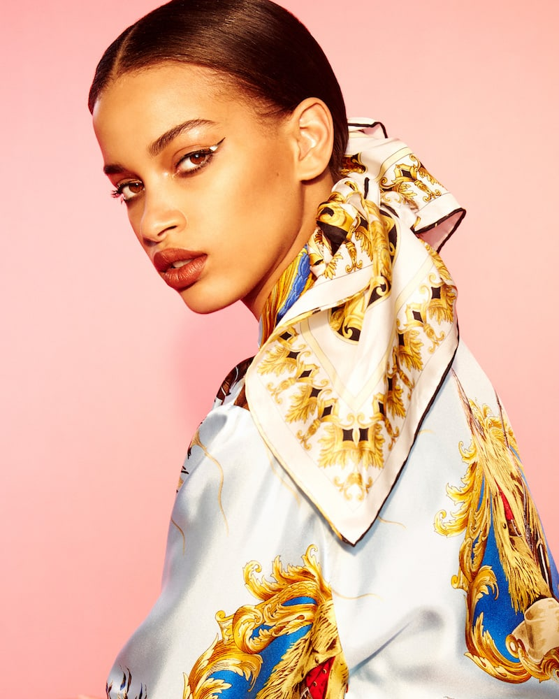 Versace Graphic Silk Crop Blouse