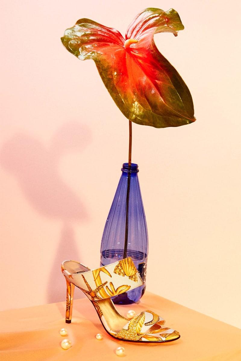 Versace Starfish-Print Faille Mules