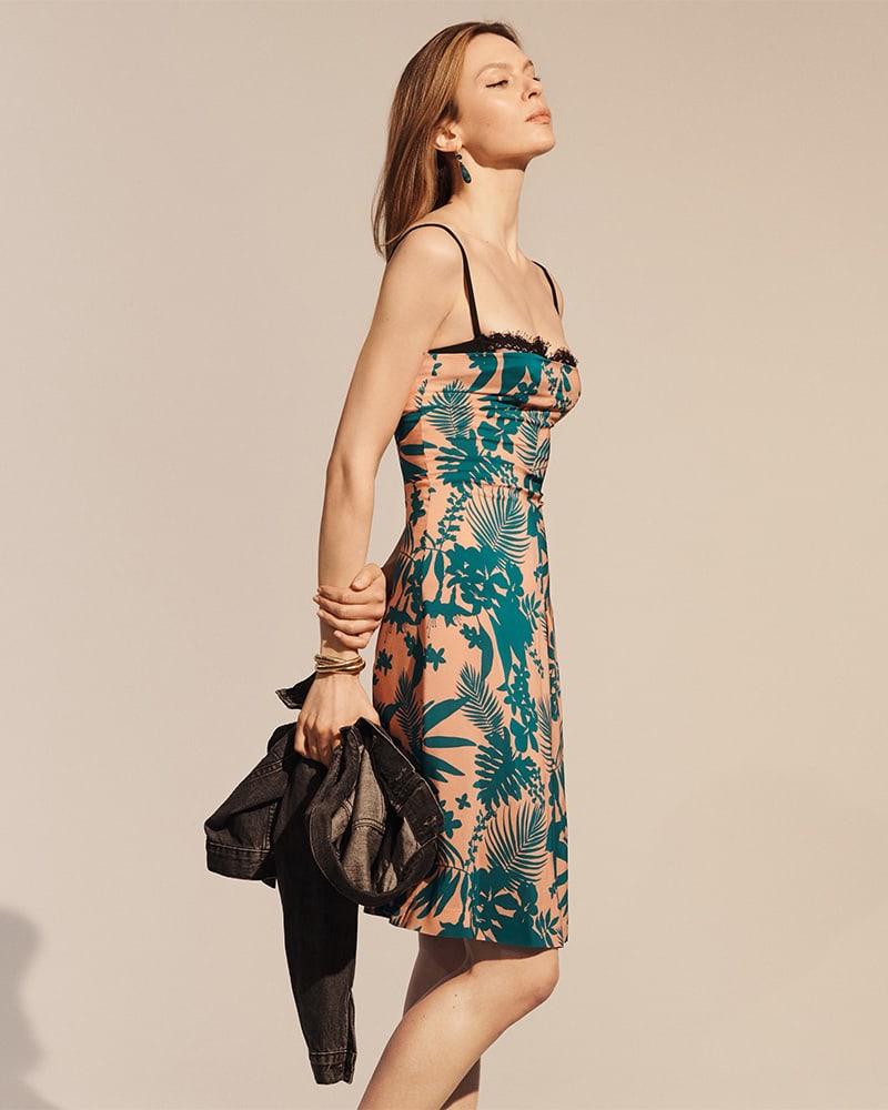 Barneys New York Floral Silk Bustier Dress