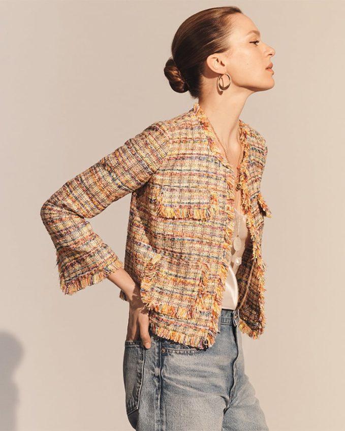 Barneys New York Frayed-Edge Tweed Jacket