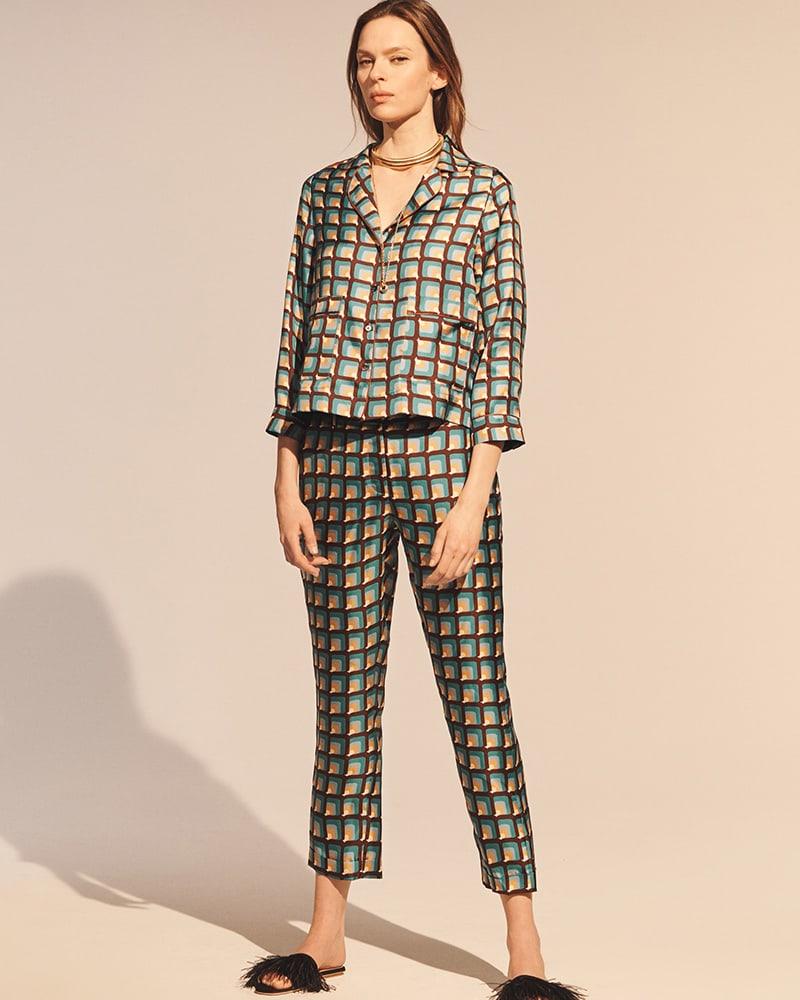 Barneys New York Geometric Silk Pajama Blouse