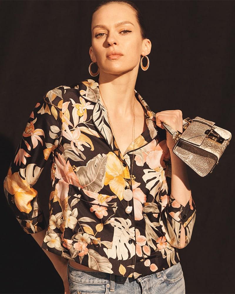 Barneys New York Tropical-Floral Silk Pajama-Style Blouse