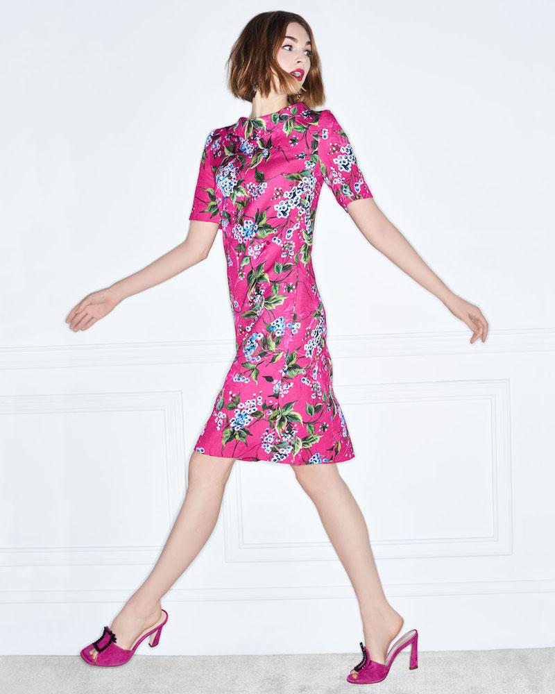 Escada Elbow-Sleeve Floral-Print Jacquard A-Line Dress