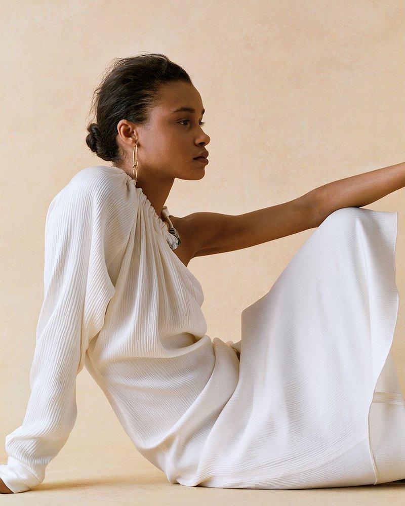 Gabriela Hearst Simpson One-Shoulder Silk Dress