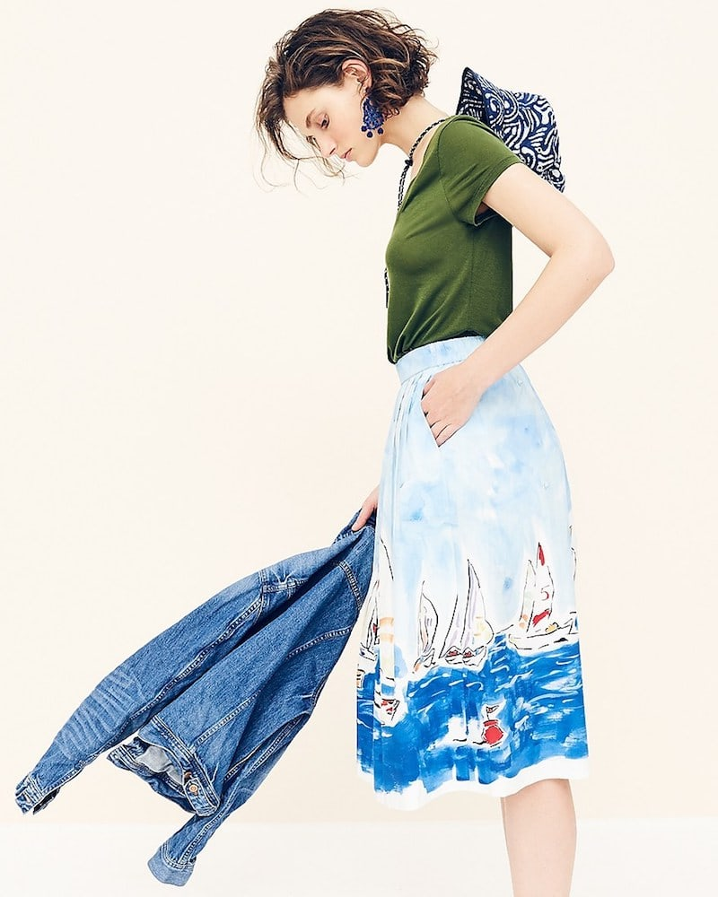 J.Crew Painted Regatta Midi Skirt