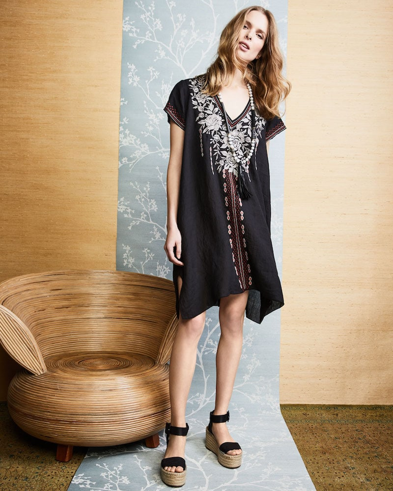 Johnny Was Surya Short-Sleeve Embroidered Tunic Dress