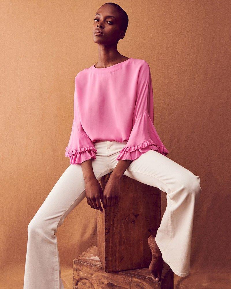 Kobi Halperin Luanne Ruffle-Sleeve Relaxed Top