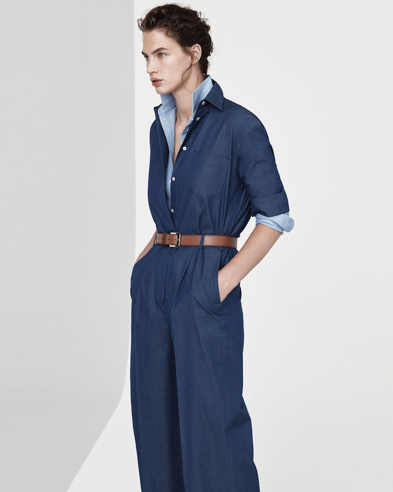 Loro Piana Button-Down Wide-Leg Denim Jumpsuit