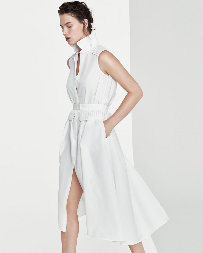 Loro Piana Gayle Luxury Cotton Silk Sleeveless Shirtdress