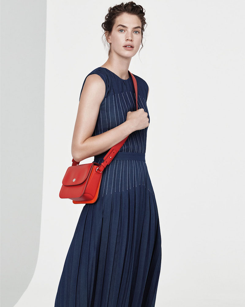 Loro Piana Mrytle Sleeveless Pleated Stitched Denim Ankle Dress