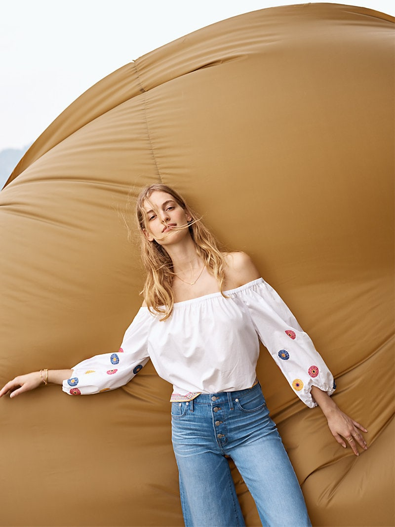 Madewell Embroidered Off-The-Shoulder Top