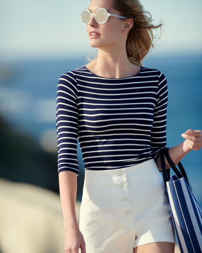 Majestic Paris for Neiman Marcus 3 4-Sleeve Soft-Touch Striped Top