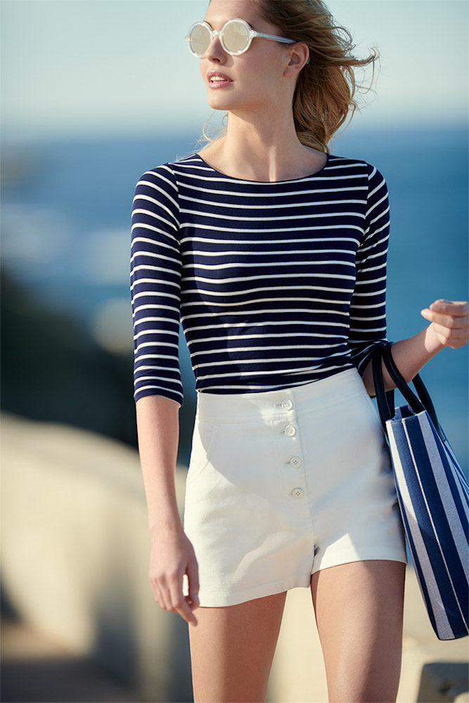 Majestic Paris for Neiman Marcus 3/4-Sleeve Soft-Touch Striped Top 1