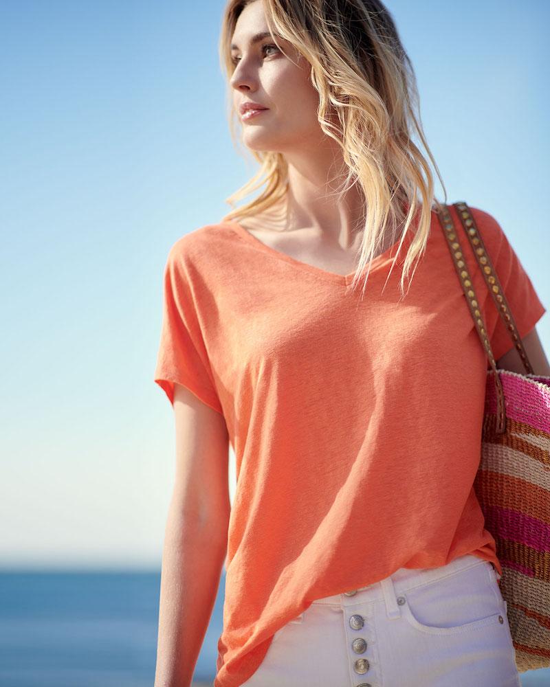 Majestic Paris for Neiman Marcus Linen Short-Sleeve T-Shirt