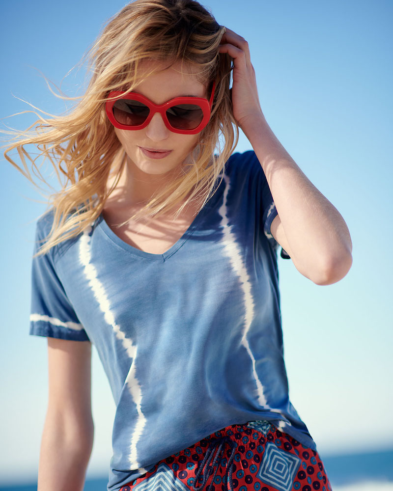 Majestic Paris for Neiman Marcus Tie-Dye Short-Sleeve Top