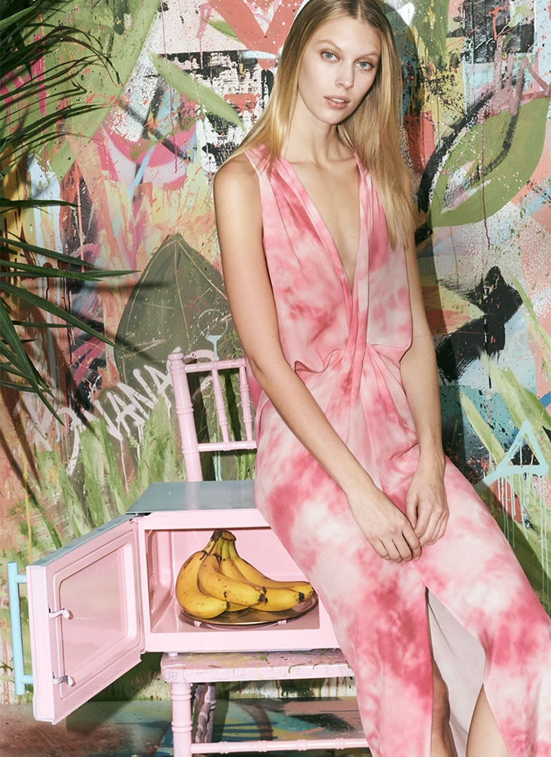 Michael Kors Collection Plunge Twist Tye-Dye Dress