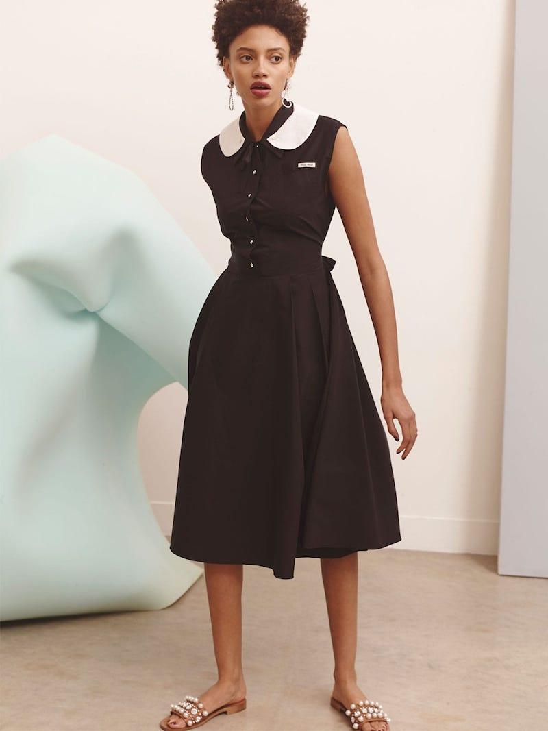 Miu Miu Contrast Collar Cotton-Poplin Dress