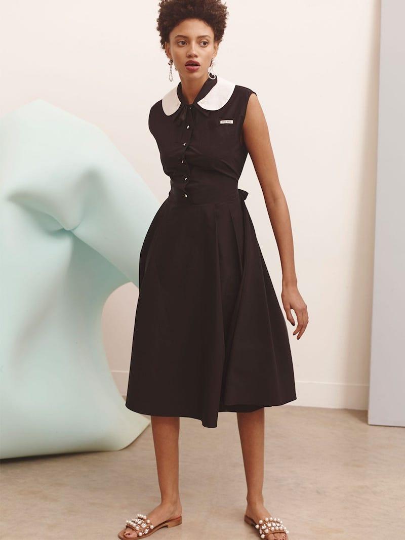 Miu Miu Contrast Collar Cotton-Poplin Dress