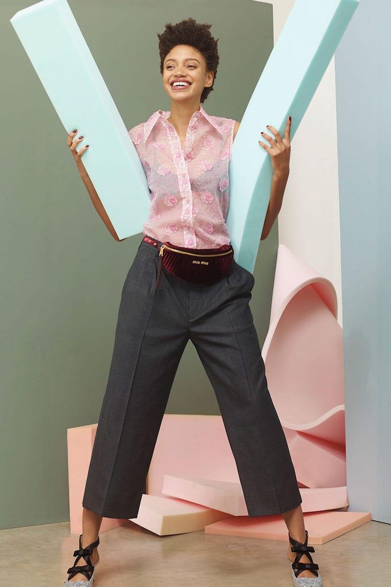 Miu Miu Floral-Lace Point-Collar Sleeveless Shirt