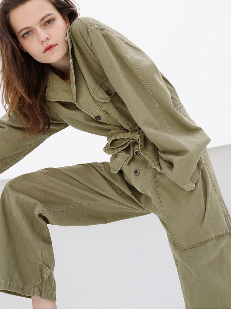 Nili Lotan Aria Cotton-Linen Belted Jumpsuit