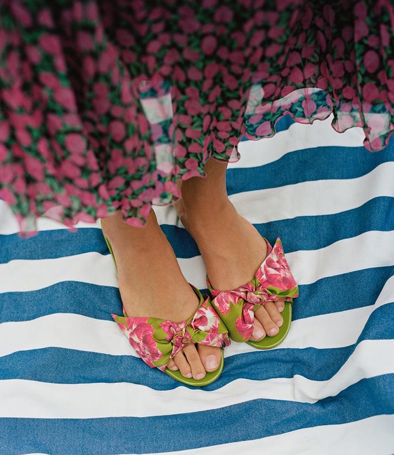 Salvatore Ferragamo Flower-Heel Silk Slide Sandals