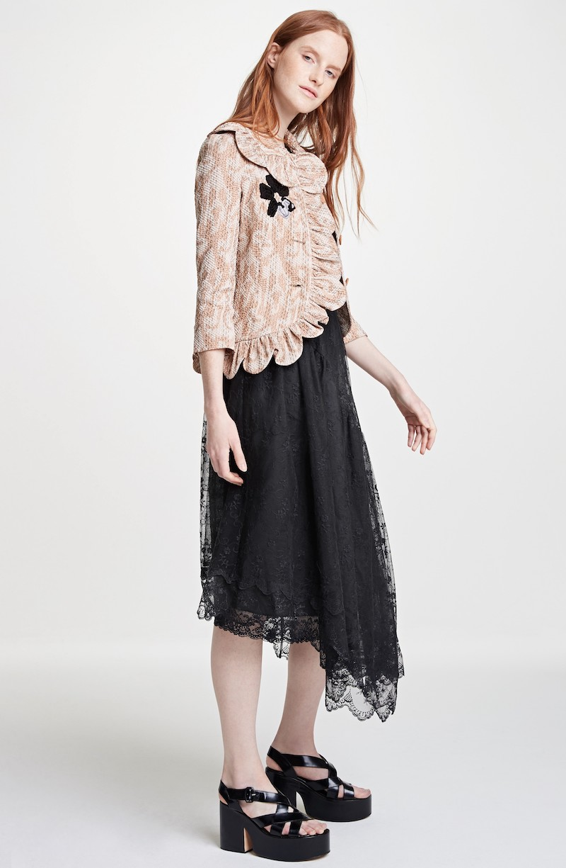 Simone Rocha Asymmetrical Embroidered Tulle Dress