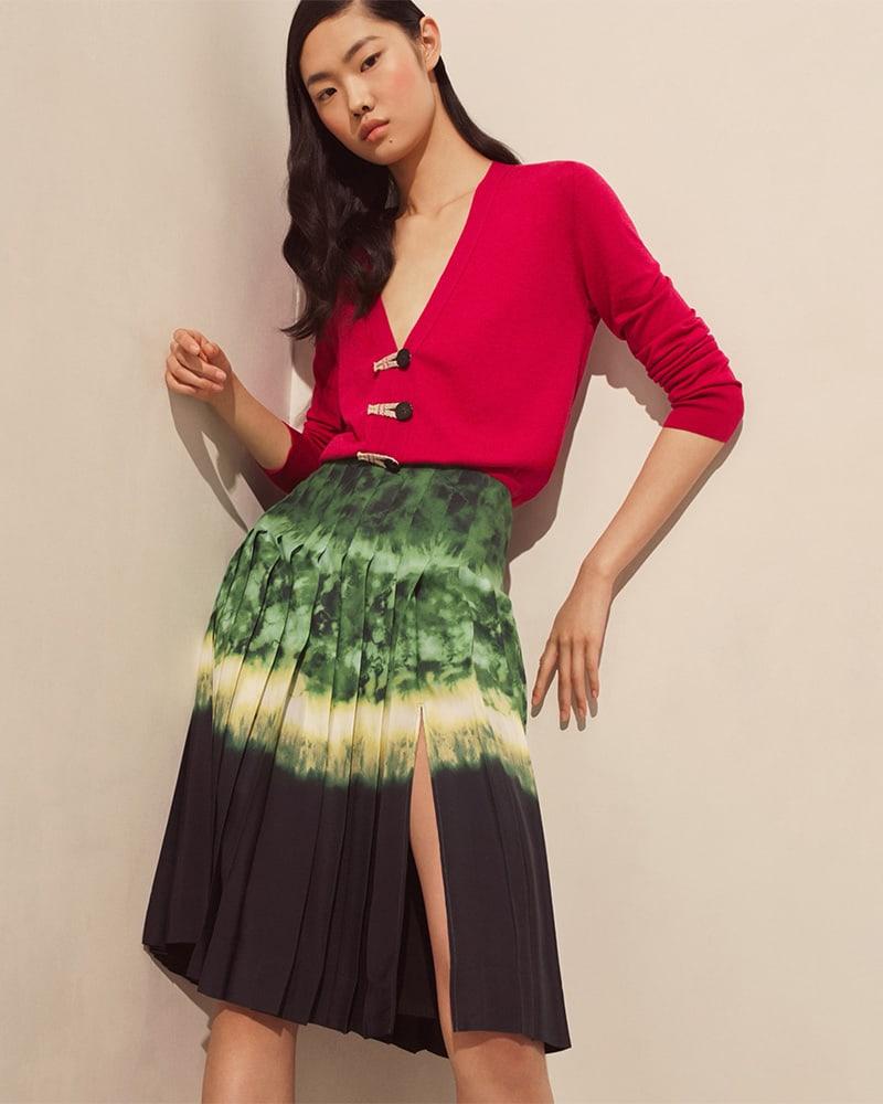 Altuzarra Zurina Pleated Tie-Dyed Skirt
