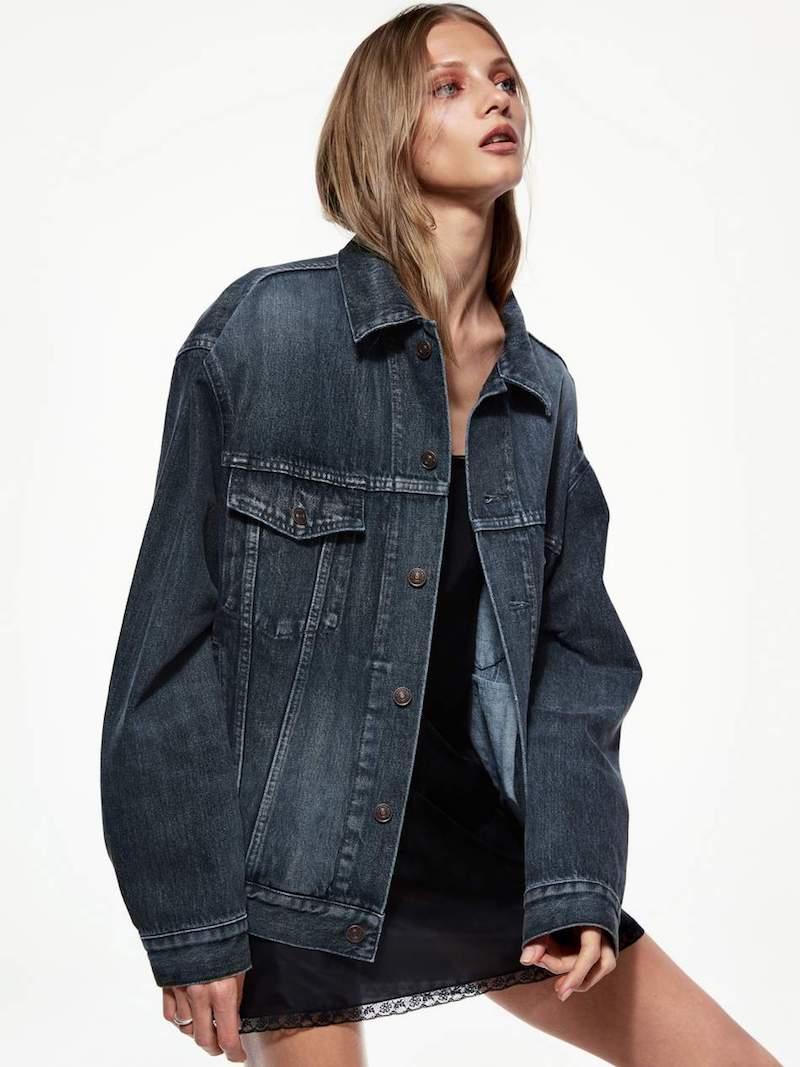 Balenciaga Like A Man Oversized Embossed Denim Jacket